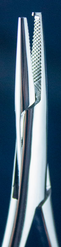 Orthodontic Instrument - mathieu needle holder with hook from side closeup image
